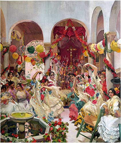Joaquín Sorolla Sevilla, la danza - Kits de pintura por números - Pintura de lienzo de bricolaje para adultos principiantes - 16 x 20 pulgadas (sin marco)