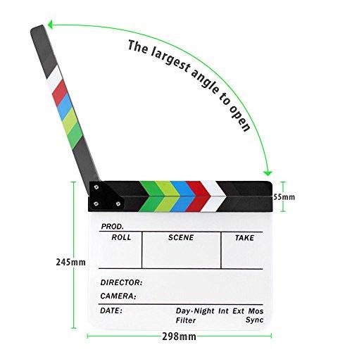 """JOYOOO Claqueta Plástica acrílica Director film clapboard (9.6 * 11.7""""/25x30cm) cinematográfica Película Badajo Junta Pizarra de colores"""