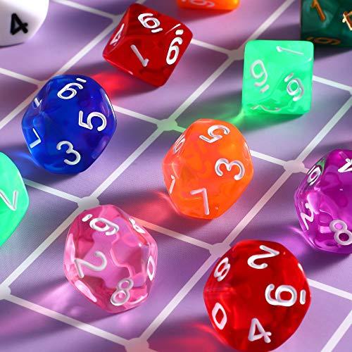 Juego de Dados Poliédricos de 50 Piezas Dados de 10 Caras Dados Poliédricos Multicolores con Bolsa Negra Compatible con Juegos de Mesa DND RPG MTG