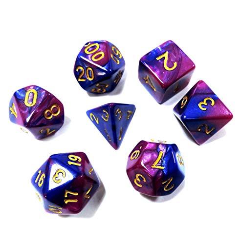 Juego de Dados Simple, poliédrico, 5 x 7-Die Series Dungeons and Dragons de Dos Colores DND RPG MTG Dados de Juegos de Mesa con Bolsas Gratis