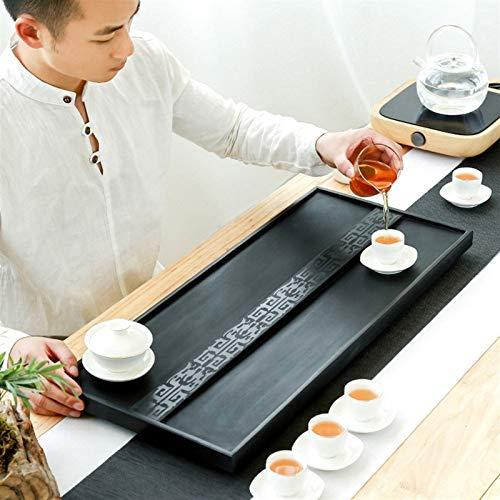 Juegos de té Bandeja De Té De Piedra Kung Fu Sala De Té Simple Kung Fu Tea Bandeja Zen Té Bandeja Sea Drenaje Ocultado (Size : 60x30x3cm)