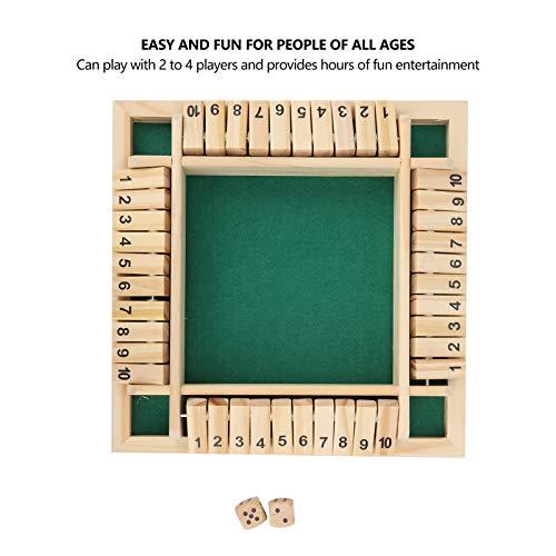 Juguete de juego de dados de madera, caja Juego de dados de tablero de madera Juego de flop digital de cuatro lados Niños y adultos Juguete educativo de aprendizaje de matemáticas