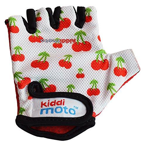 KIDDIMOTO Guantes de Ciclismo sin Dedos para Infantil (niñas y niños) - Bicicleta, MTB, BMX, Carretera, Montaña - Cereza - Talla: M (5-8 años)