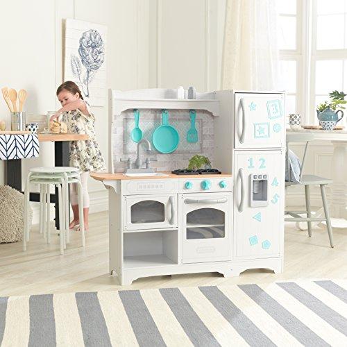 KidKraft- Cocina de juguete de madera Countryside, para niños, con máquina de hacer hielo y juegos de dramatización incluidos , Color Multicolor (53424)