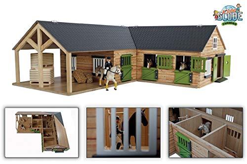 Kids Globe 610211 - Casa de Caballo de Madera a Escala 1:24, con 3 Cajas, Puertas móviles, Ventanas y portones, Multicolor