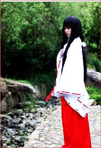 Kikyo Kikyo Kikyou - Disfraz de Cosplay de manga Anime Inuyasha blanco y rojo. XL (169/174 cm altura)