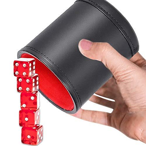Kitchen-dream Juego de tazas de dados, Juego de vasos de dados de cuero, Taza de dados de cuero insonorizada con 5 dados rojos Ideal para juegos de entretenimiento, bar, viajes, fiesta (negro)