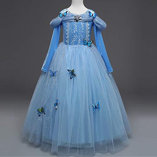 Kosplay Vestido de Cenicienta, Disfraz de Princesa Cenicienta con Mariposa para Halloween Carnaval Navidad Fiesta Cosplay Costume para Niñas Chicas 3-9 Años