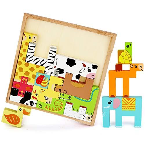 LBLA Bloques de Madera Coloridos Animales, Juegos de apilamiento de Madera, Juego de Equilibrio para niños, Juguetes Montessori Educativos para Aprender los Animales Coloridos