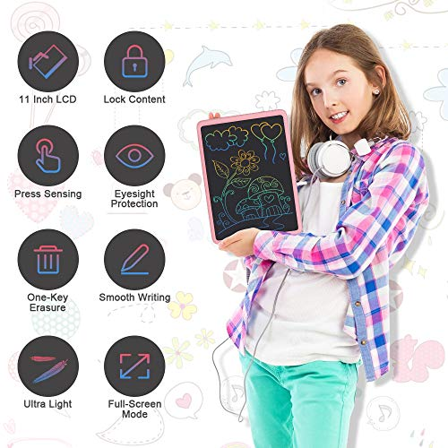 LCD Writing Tablet, 11 Inch Electronic Writing and Drawing Board, Erasable Reusable Doodle Pad Tablet for Kids and Adults at Home, School, Office (Pink)
