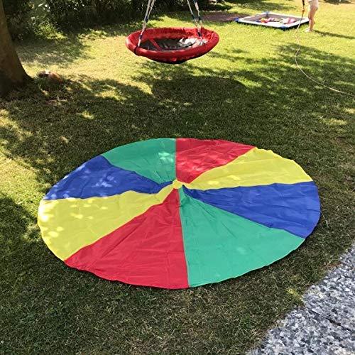 LEADSTAR 6FT Juego De Paracaídas de Color para Niños Arco Iris Juegos Actividades Deportivas Fiestas Ejercicios en Grupo Al Aire Libre (2m)