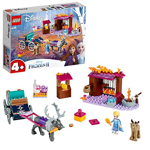 LEGO Disney Princess - Aventura en Carreta de Elsa, Juguete de Construcción del Carruaje de Frozen 2, Incluye Minifiguras de 2 ciervos (41166)