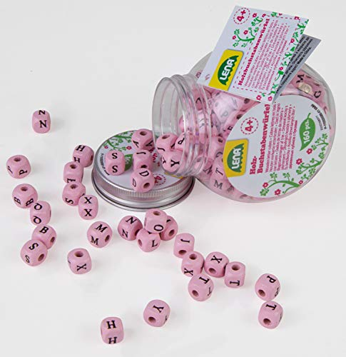 Lena Color Letras en Lata, Cubo niños a Partir de 4 años, Juego con 160 Dados de Madera Rosa (SIMM Spielwaren 32008)