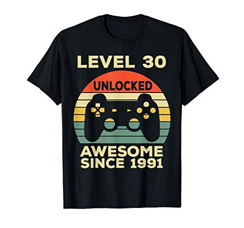 Level 30 Unlocked Birthday 30 Years Old Awesome Since 1991 Camiseta