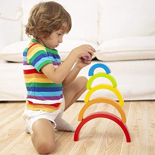 Lewo Juguetes Educativos Apilador de Arcoiris de Madera Puzzle de Anidamiento Grande Jugar Bloques Bloques de Construcciónpara Niños Niño Niña