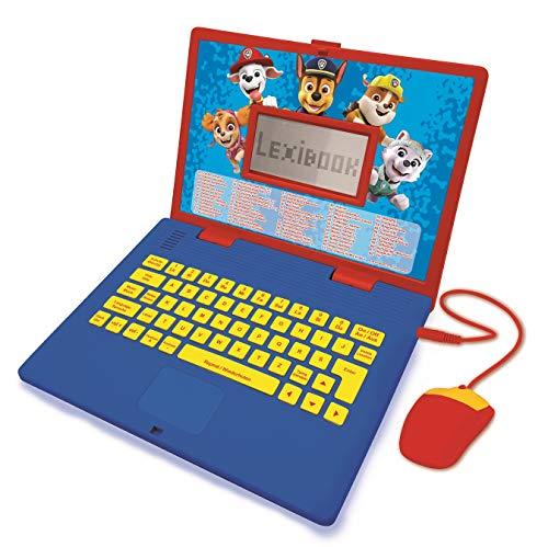 LEXIBOOK- Paw Patrol - Ordenador portátil Educativo y bilingüe francés/inglés - Juguete para niños con 124 Actividades para Aprender, Juegos y música con Chase y Marshal - Azul/Rojo (JC598PAi3)