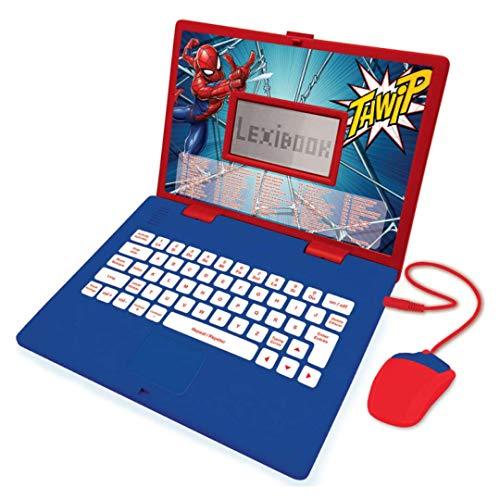 LEXIBOOK- Spider-Man - Ordenador portátil Educativo y bilingüe español/inglés - Juguete para niños con 124 Actividades para Aprender, Juegos y música - Azul/Rojo