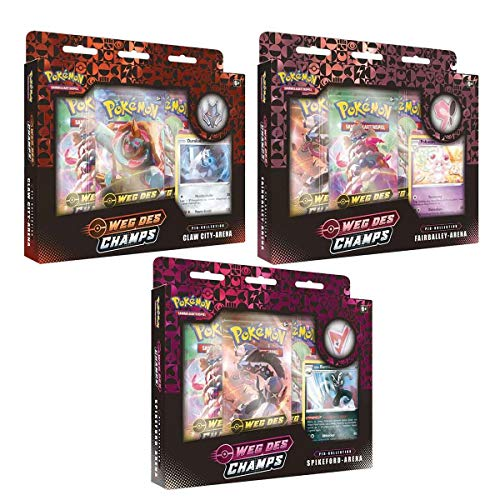 Lively Moments Pokémon 3 Vías del Champs Pin colecciones Fairballey-Arena, Spikeford-Arena & Claw City Arena DE y tarjeta de felicitación exclusiva gratis