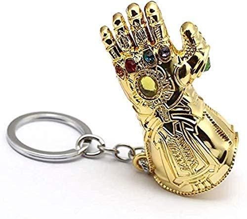Llavero de los Vengadores Infinito Guantelete Llavero Thanos War Accesorios Serie Superhéroe Colgante de Metal para los Fans de Marvel (Dorado)