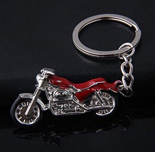 Llavero de moto de acero plateado y rojo cromado para motorista.