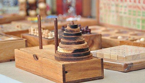 LOGICA GIOCHI Art. Torre de Hanoi 9 Discos - Rompecabezas de Madera Preciosa - Distintos Niveles de Dificultad