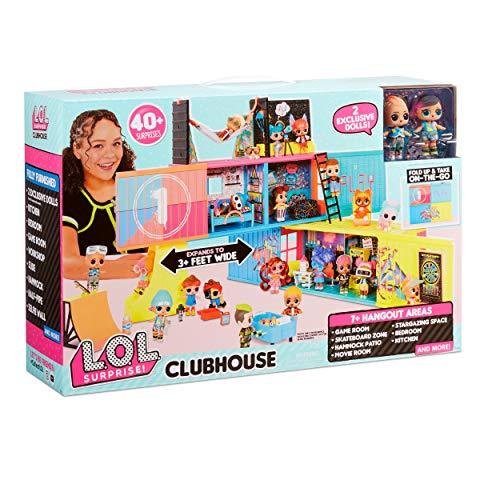 LOL Surprise Juego de Casa Club , Con más de 40 Sorpresas , 2 Muñecas Exclusivas, 7 Áreas de Reunión , Cocina, Dormitorio, Sala de Juegos y Más