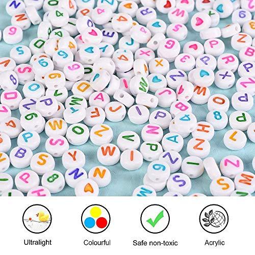 LQKYWNA 1850pcs Cartas Cuentas Digitales Conjunto De Collar Y Pulsera Pulseras, Educación Temprana De Los Niños DIY Mini Ronda De Los Granos De Acrílico Arte Hecho A Mano (Blanco + Colorido)