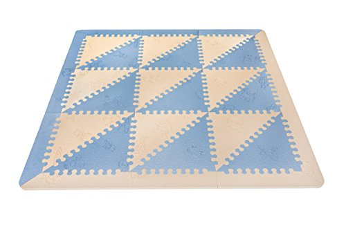 LuBabymats - Alfombra puzzle infantil para bebés de Foam (EVA), suelo extra acolchado para niños, color azul y beige