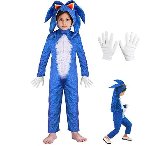 Lucky baby Niñas Niños DisfrazSonic Hedgehog Jumpsuit + Tocado + Guantes Traje de Lujo (Azul, 140-155cm / 9-11 años)