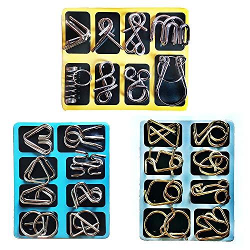 MINGZE 24 Piezas Juguetes Mágicos de Alambre de Metal Set, 3D Rompecabezas Brain Teaser Puzzle, IQ Inteligencia Juguete Educativo Juego Niños y Adolescentes