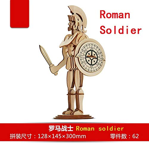 Modelo de madera 3D DIY rompecabezas de juguete bebé niño regalo trabajo manual ensamblar juego de madera soldado romano bebé Roma guerrero regalo de cumpleaños 1 pieza