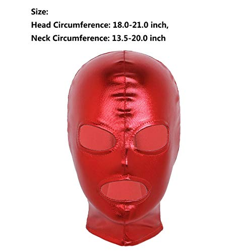 MSemis Máscara de Látex para Adultos Cubierta Completa de Cabeza Pasamontaña Disfraz Capucha Casco Abierto Ojos Boca Cosplay Fiesta Pascua Despedida Rojo Talla Única