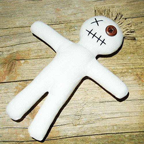 Muñeca de vudú Mojo Doll White con aguja e instrucciones de rituales (idioma español no garantizado).