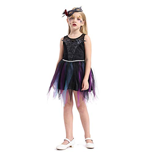 N / A Cosplay Halloween Novedad Regalo Disfraz para niños Disfraz de Terror Disfraz de Bruja Juego de Navidad Disfraz de casa Body Height:120-135cm