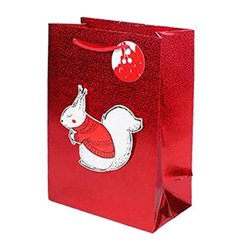 #N/A/a Brillo de Color Bolsas de Regalo con Mango Goody Bolsa de Venta al por Menor Bolsa de artesanía para la Boda de cumpleaños y Las Celebraciones de la - Ardilla
