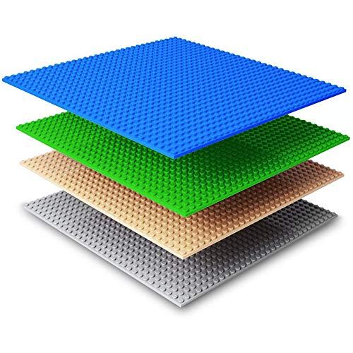 NextX 4 Piezas de Base Plancha para Classic Construir Game plastico Bases Placa 25 x 25 cm (Azul+Verde+Gris+Caqui) …