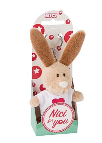 NICI 44729 - Llavero de conejo con camiseta y corazón (10 cm), color beige
