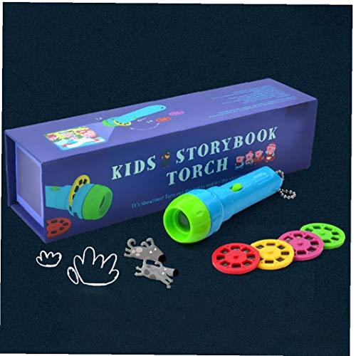 Niños Calendario de la linterna de la antorcha del proyector Juguetes Storybook educativo para el bebé dormir regalos STORYS incluyendo 4 Fairy Tales cada historia tiene 8 Fotos Accesorios prácticos