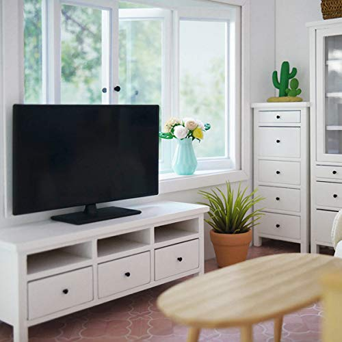 Nrpfell Pantalla Plana en Miniatura de Casa de Mu?Ecas a Escala 1:12 TV TelevisióN Accesorios para Muebles de Casa de Mu?Ecas (Negro)
