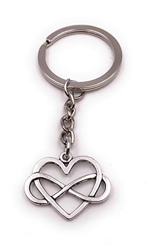 Onwomania Cadena Clave Corazón Amor Hueco Infinito Amor símbolo Plata Llavero Colgante