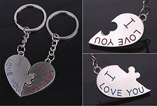 Oyfel Llavero Forma de Corazón Enamorados Sierra caladora Metal alliages Regalo de Coche Bolsa teléfono Cartera 2pcs