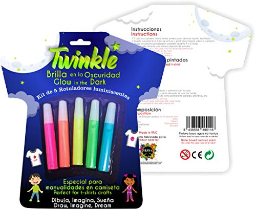 Pack de 5 pinturas luminiscentes para ropa - TWINKLE (10ml)
