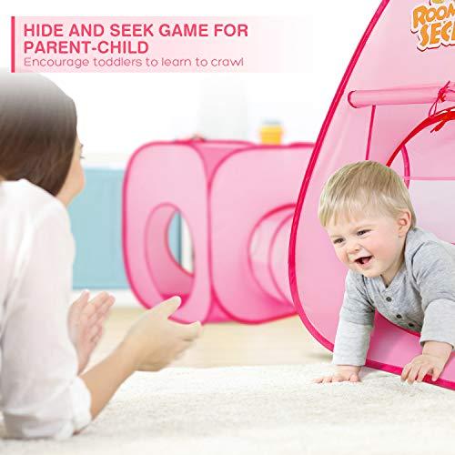 Peradix Tienda de Campaña Infantil con Tunel para Niños, Tiendas de Campaña para Niños, Tunel Infantil con Canasta y 3 Bolas, Jugar Tienda para Interiores/Exteriores Playhouse