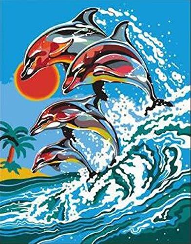 Pintura de Animales de Delfines en la Isla por números sobre Lienzo DIY Pinturas al óleo para Pared de Sala de Estar