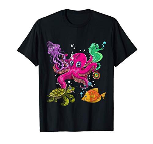 Pulpo Lindo Caballito De Mar Tortuga Medusa Escuadra Animal Camiseta