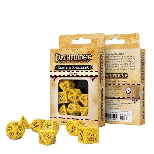 Q Workshop Pathfinder Skull & Shackles RPG Ornamented Dice Set 7 Polyhedral Pieces