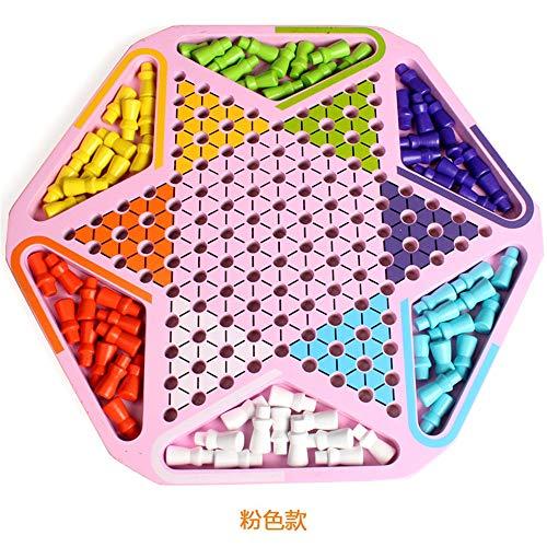QinWenYan Juego de Damas Juguetes de Madera for niños Damas Primaria for Adultos Juegos de Mesa Padres e Hijos Juegos interactivos Juguetes para Niños (Color : Pink, Size : Free Size)