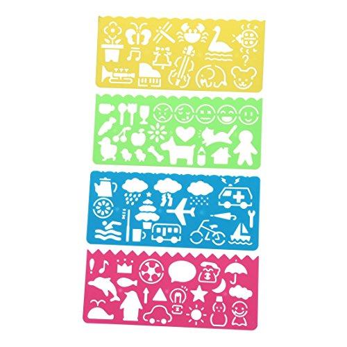 Regla - SODIAL(R) 4 pzs Regla de dibujo de plantillas de plastica para Estudiantes Ninos