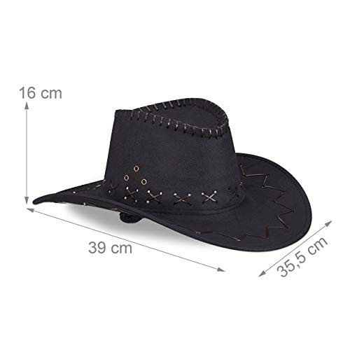 Relaxdays Sombrero Vaquero, Color negro 16 x 35,5 x 39 cm 10024992_46 , color/modelo surtido