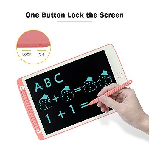 Richgv® Tableta de Escritura LCD de 10 Pulgadas Tablero Negro Inteligente Juguetes de Aprendizaje Tablero de Dibujo Electrónico Escritura a Mano y Doodle Pad para Niños y Adultos(10 Pulgadas, Rosa)…